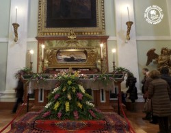 Worshippers visit the shrine of Saint Angela in Foligno. Photo Credit: Emma Cordell
