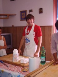 Brad Jones during an immersion experience in that quintessential Italian custom, making pasta.
